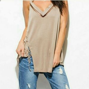 BKE Lace up Cami blouse